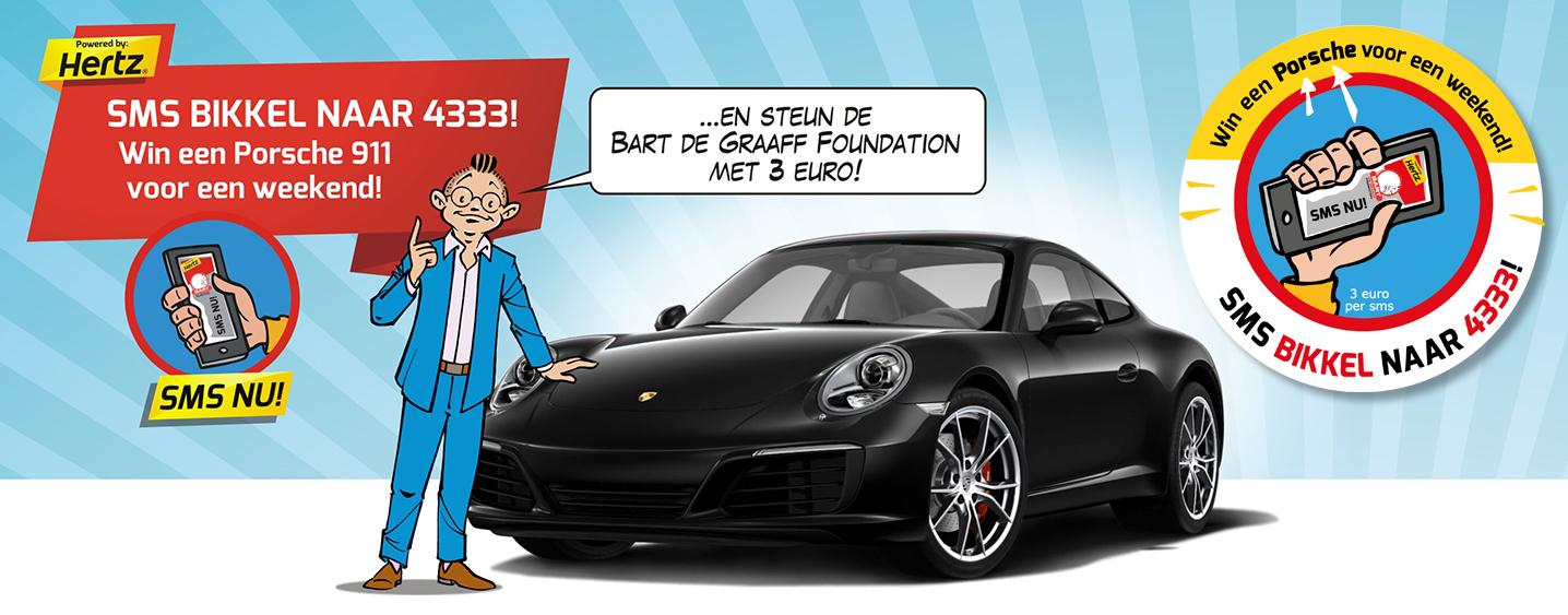 Bart de Graaff naast zwarte Porsche
